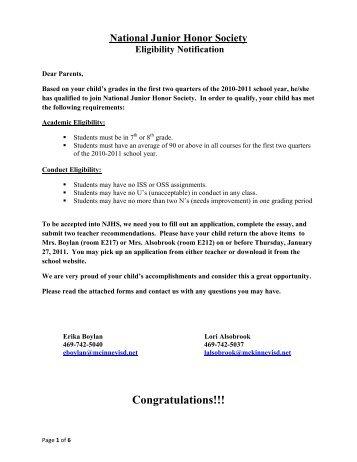 National Jr. Honor Society Application