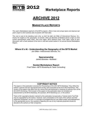 Marketplace Reports - BiTS Workshop