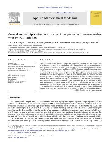 General and multiplicative non-parametric corporate performance ...