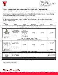 13-day Kananaskin Packing List - YMCA Calgary
