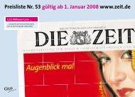 Preisliste Nr. 53 gültig ab 1. Januar 2008 www.zeit.de - Die Zeit