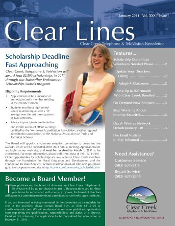 January 2011 Clear Lines - Clear Creek Communications