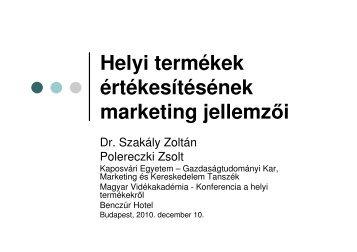 Polereczki-Helyi termékek értékesítésének marketing jellemzői