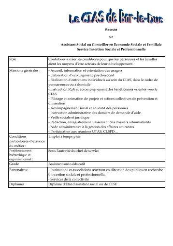 Assistant Social ou Conseiller en Economie Sociale et ... - Bar-le-Duc