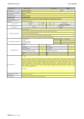 Kierunek: Ekonomia 3 EFL310 - Wydział Nauk Ekonomicznych ...
