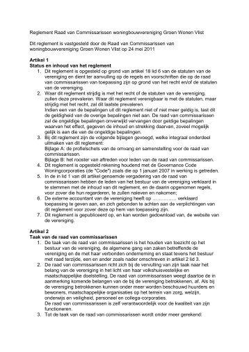 Reglement Raad van Commissarissen - Groen Wonen Vlist