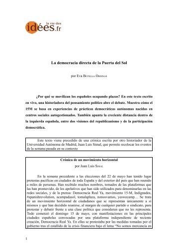 La democracia directa de la Puerta del Sol - Books & ideas