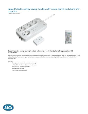 Surge Protector energy saving,4 outlets with remote control ... - eshop