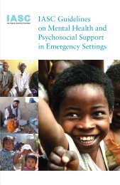Iasc Guidelines on Mental Health and Psychosocial support in ...