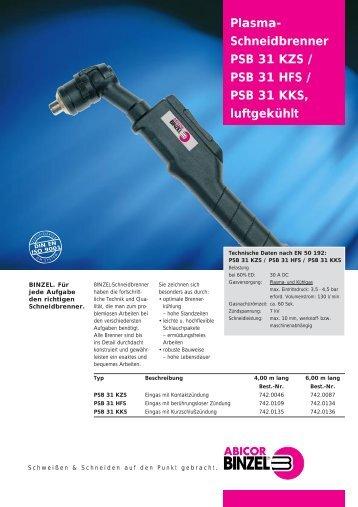 Plasma- Schneidbrenner PSB 31 KZS / PSB 31 HFS / PSB ... - dpiaca