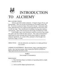 INTRODUCTION TO ALCHEMY - Serendip
