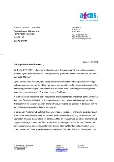 Word Vorlagen Brief Template Musterbrief Agens Ev