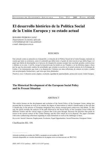 El desarrollo histórico de la Política Social de la Unión Europea y su ...