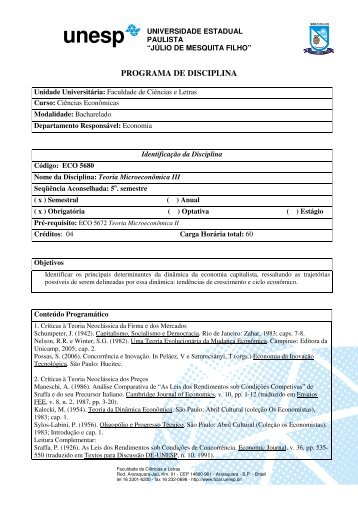 programa de disciplina - Faculdade de Ciências e Letras - Unesp
