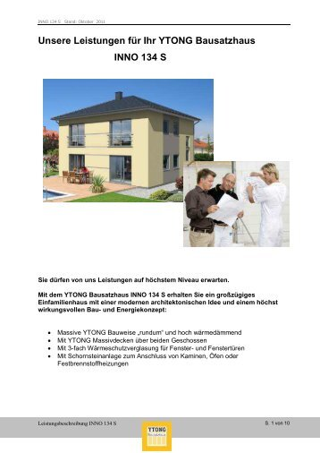 und Leistungsbeschreibung Innovationshaus INNO 134 S - Ytong ...