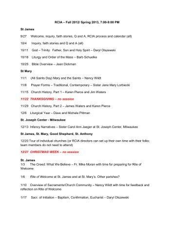 RCIA – Fall 2012/ Spring 2013, 7:00-9:00 PM St ... - St. Mary Parish
