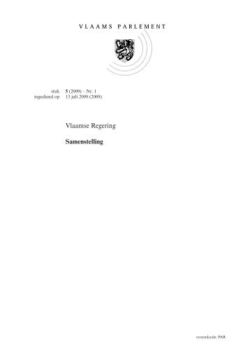 Vlaamse Regering Samenstelling - Vlaams Parlement