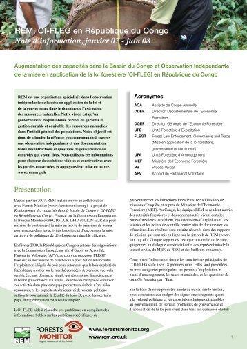 REM, OI-FLEG en République du Congo Note d ... - Forests Monitor
