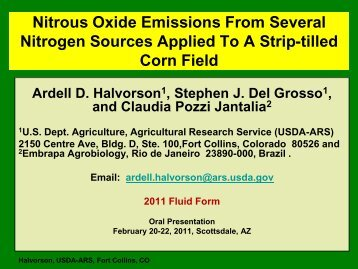 Nitrous Oxide Emissions From Several Nitrogen Sources Applied To A ...
