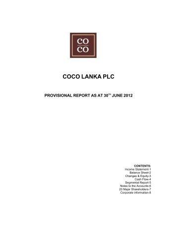 COCO LANKA PLC - Colombo Stock Exchange