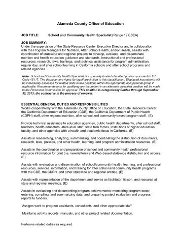 School and Community Health Specialist - Alameda County Office of ...