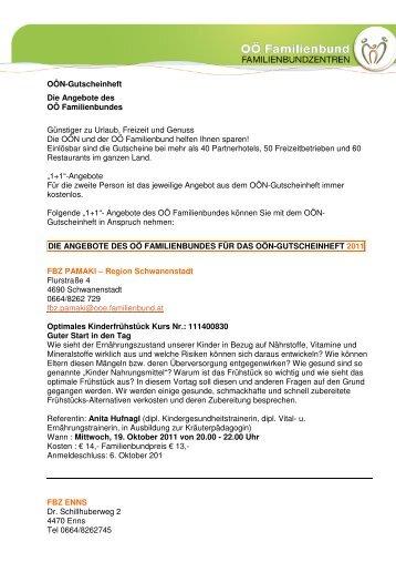 OÖN-Gutscheinheft Die Angebote des OÖ Familienbundes ...