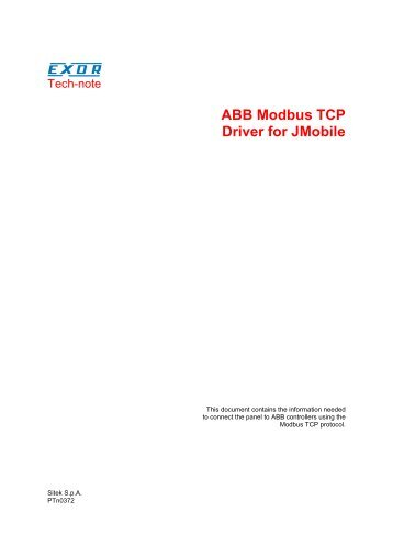 ABB Modbus TCP Driver for JMobile