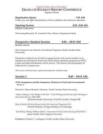 Program - History - North Carolina State University