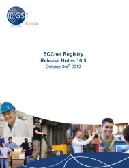 ECCnet Registry Release Notes 10.5 - GS1 Canada
