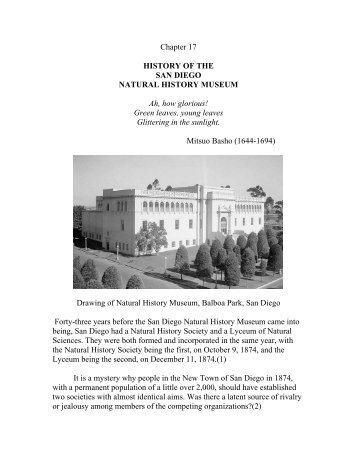 History of the San Diego Natural History Museum - Balboa Park ...