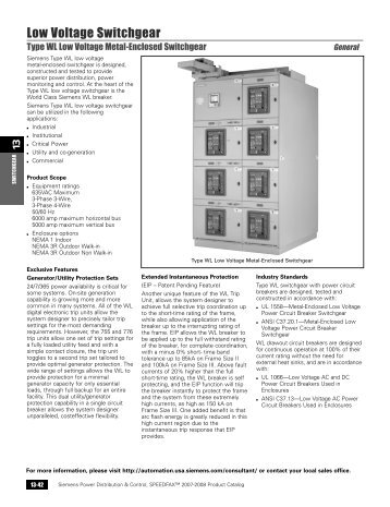Type WL Low Voltage Metal-Enclosed Switchgear - Siemens