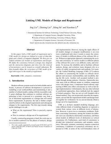 Linking UML Models of Design and Requirement - UNU-IIST ...