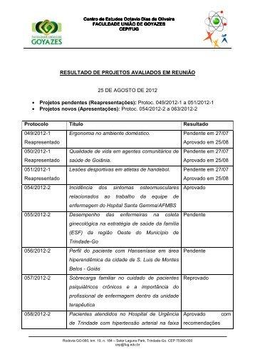 Resultado dos Projetos avaliados na reunião da Comissão de Ética ...