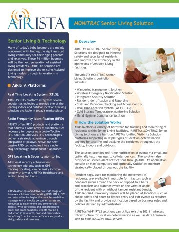 MONITRAC Senior Living Solution - AiRISTA