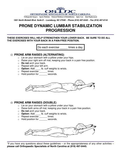 Dynamic Lumbar Stabilization Exercises