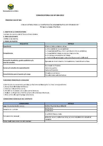 CONVOCATORIA CAS Nº 004-2013 - Municipalidad de La Molina