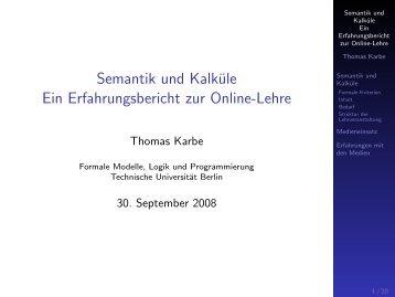 Semantik und Kalküle Ein Erfahrungsbericht zur Online ... - E-Learning