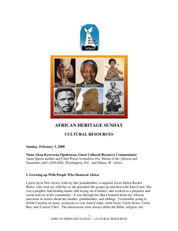 AFRICAN HERITAGE SUNDAY - The African American Lectionary