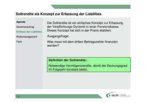 EUROFORUM ALM oder LAM für Pensionskassen - c-alm