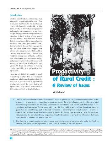 of Rural Credit : Productivity - CAB