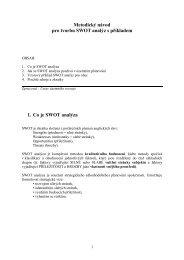 Metodický návod pro tvorbu SWOT analýz s příkladem 1. Co je ...