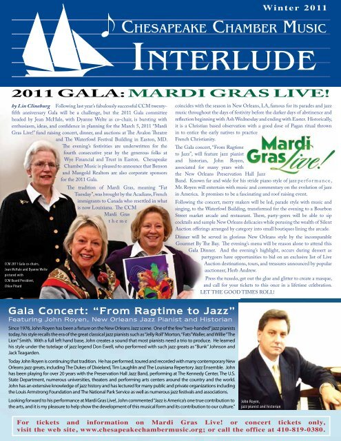 Winter 201 - Chesapeake Chamber Music