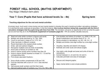 Key Stage 3 Mid Term Plans - Year 7 Core Spring - Forest Hill School