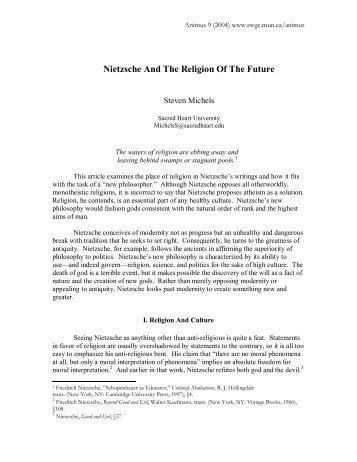 Nietzsche And The Religion Of The Future
