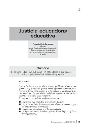 Justicia educadora/ educativa - Cáritas Española