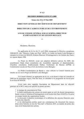 Avis du Conseil Général sur le Schéma Directeur d'Aménagement et ...