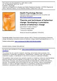 Theories and techniques of behaviour change: Developing a ...