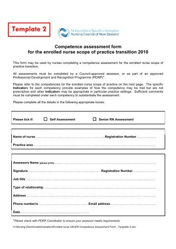 En Competence Assessment Form  Template