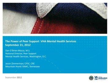 The Power of Peer Support VHA Mental Health ... - VA Mental Health