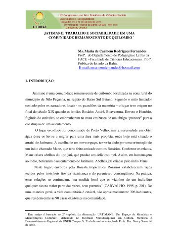 JATIMANE: TRABALHO E SOCIABILIDADE EM UMA ...